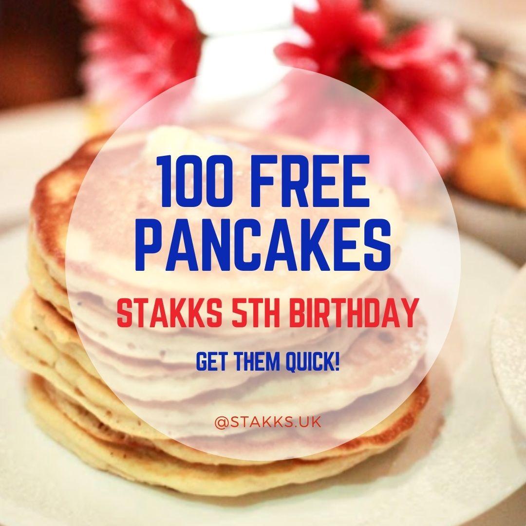 100 FREE PANCAKES !! STAKKS 5TH BIRTHDAY !!